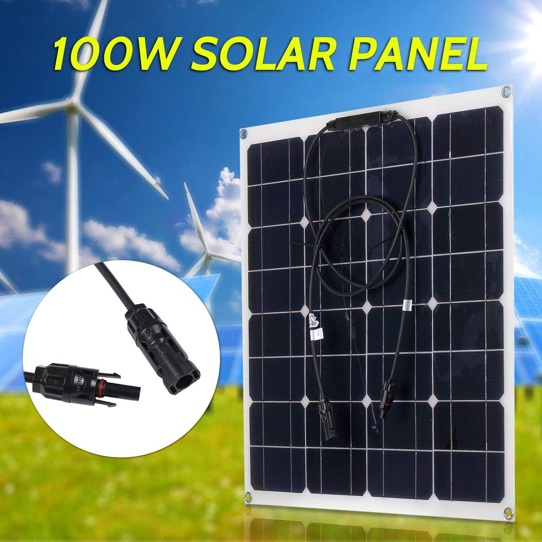 Lixada 100W 18V Kit de Módulo de Panel Solar Monocristalino IP65 Resistencia al Agua con 10/20/30/40/50A Controlador de Carga Solar PWM Regulador Inteligente para Coche Barco al Aire Libre