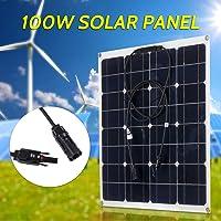 Lilideni 100W 18V Kit de módulo de Panel Solar monocristalino Alta eficiencia IP65 Resistencia al Agua con 10/20 / 30/40 / 50A Controlador de Carga Solar PWM Regulador Inteligente para el hogar RV Ca