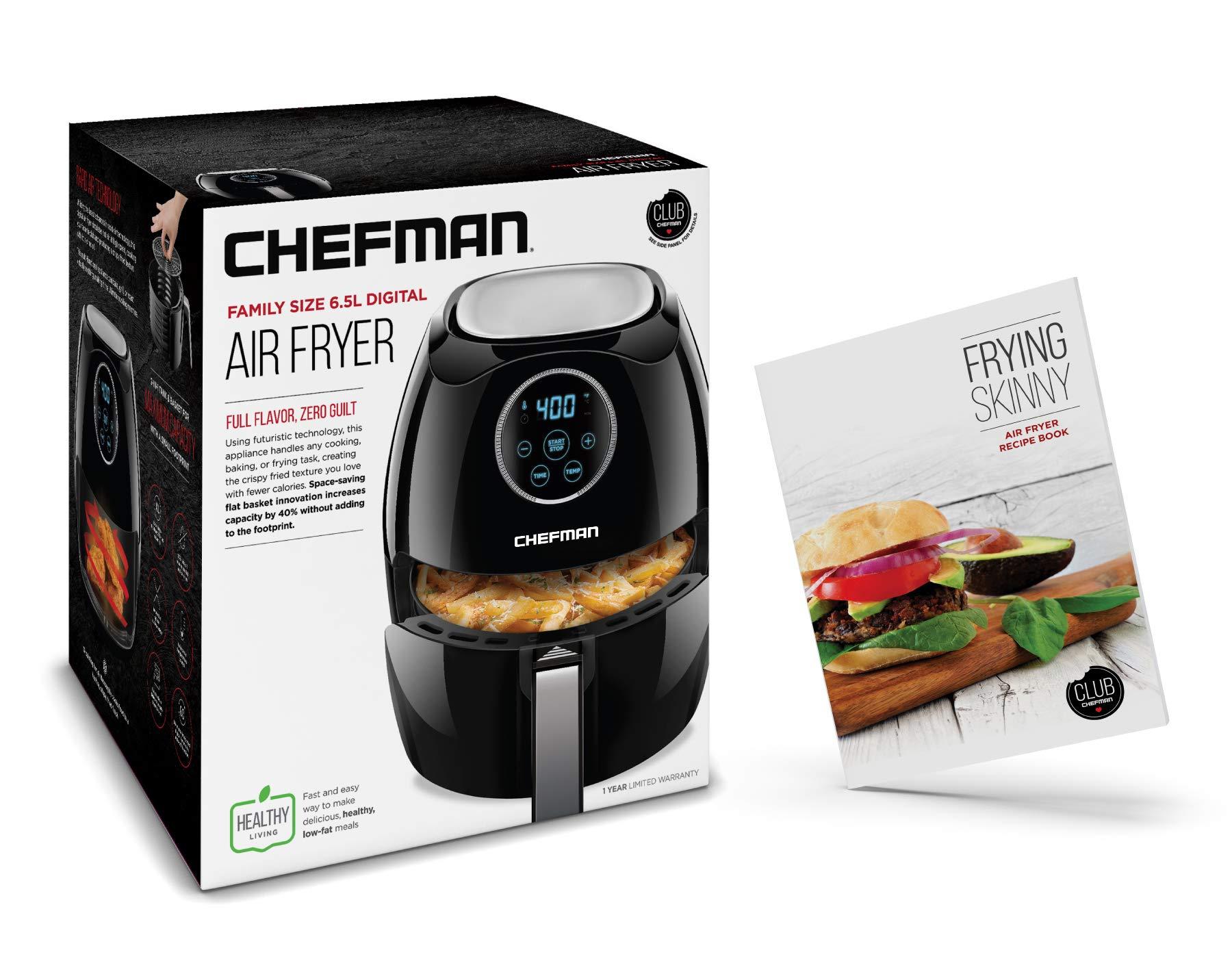 Chefman Digital 6.5 Liter/6.8 Quart Air Fryer Oven with Space Saving Flat Basket, Oil-Free Airfryer W/ 60 Min Timer & Auto Shut Off, Dishwasher Safe Parts, BPA Free, Family Size, X-Large, Black by Chefman (Image #7)