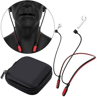 Greatfine AirPods Bluetooth Auriculares Correa Anti Perdida Silicona Neckband Strap Cable Conector para Apple AirPod Auriculares Bluetooth Inalámbricos Accesorios Headphones Banda (Red)