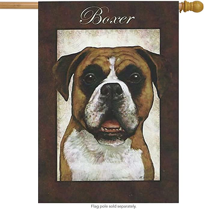Welcome where BOXER DOG Rule Yard Patio House Banner Garden Flag w// Iron Stake