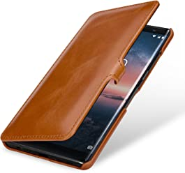 StilGut Book Type Housse en Cuir pour Nokia 8 Sirocco. Étui de Protection Nokia 8 Sirocco en Cuir véritable à Ouverture latérale, Cognac avec Clip