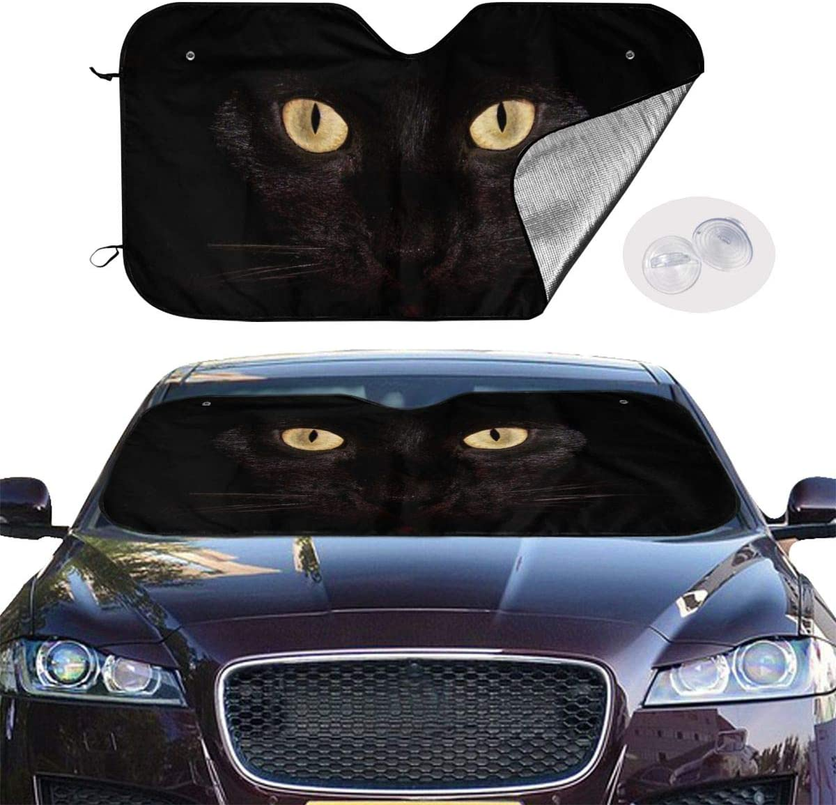Blue Cats Eye Car Windshield Sunshade 27.5 X 51 in Funny Auto Front Window Sun Shade Keeps Vehicle Cool Uv Rays for Truck SUV Accessories