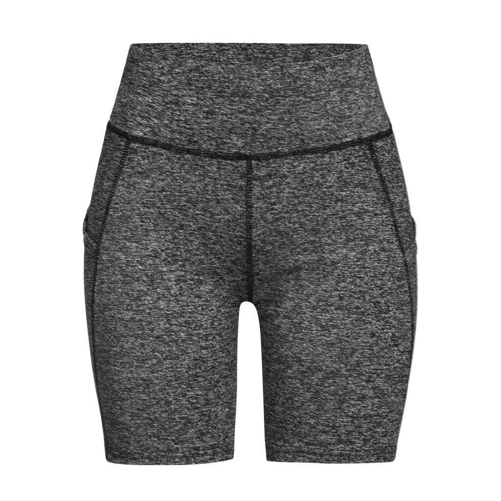 VICCKI Womens Casual Solid Color Yoga Fitness Shorts Yoga Pants