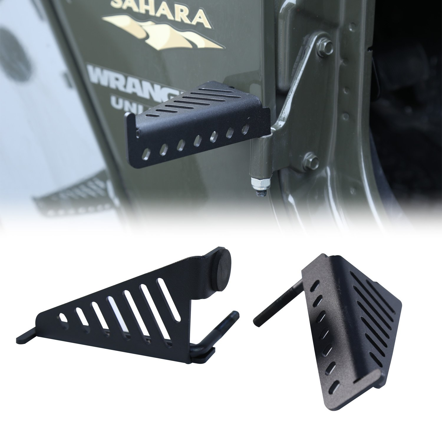 Grill Style 2pcs in 1pack CT043 cartaoo Foot Pegs Solid Steel Black Foot Rest Kick Panel for 2007-2018 Jeep Wrangler JK /& Unlimited JL