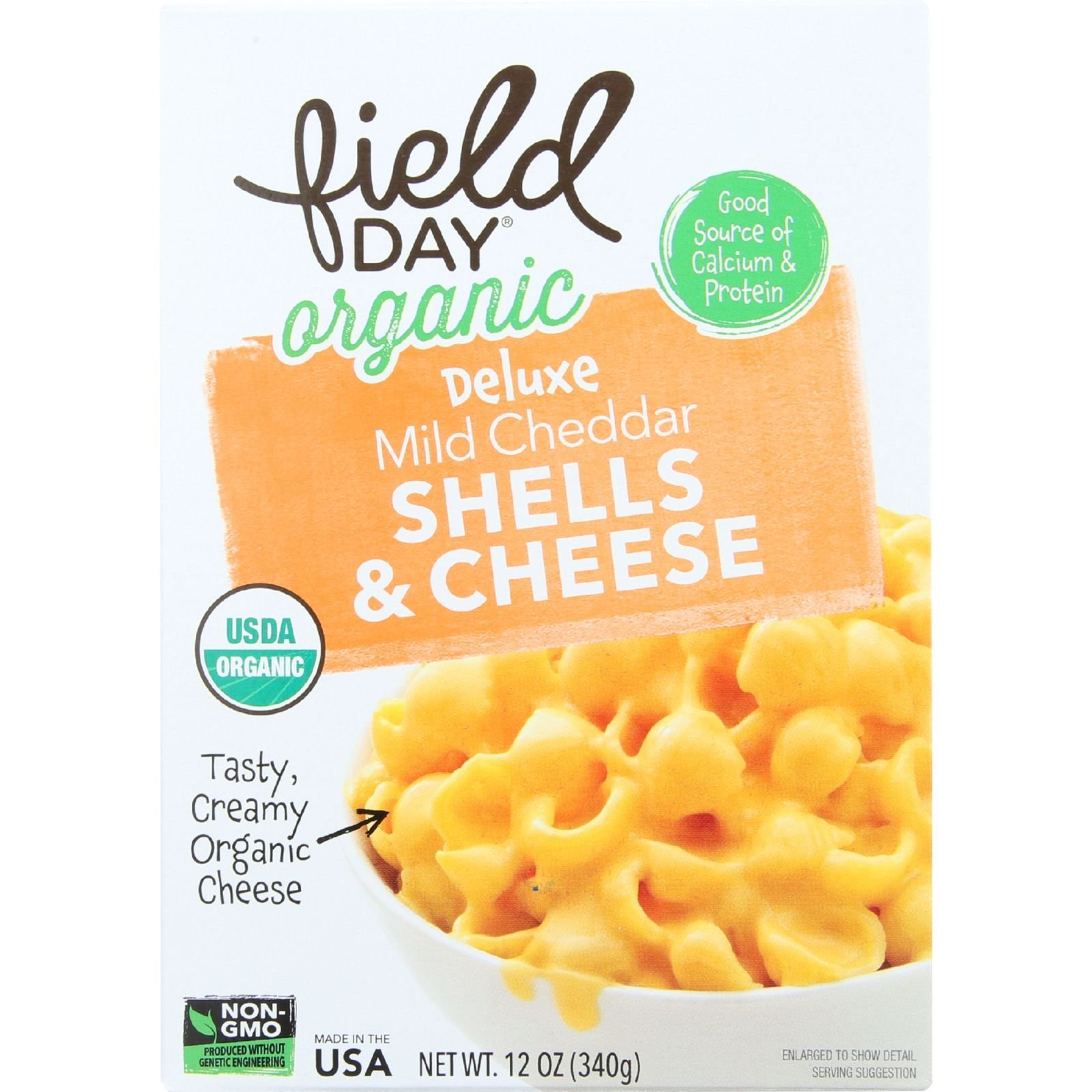 Field Day Macaroni Shells and Cheese Organic Deluxe Mild Cheddar, 12 oz, 12 Count