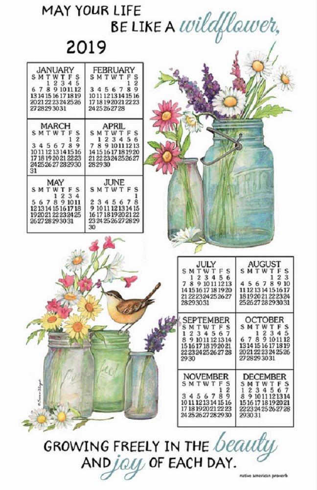 2019 Calendar Towel & Dowel - Wildflowers in Glass Jars - Kay Dee