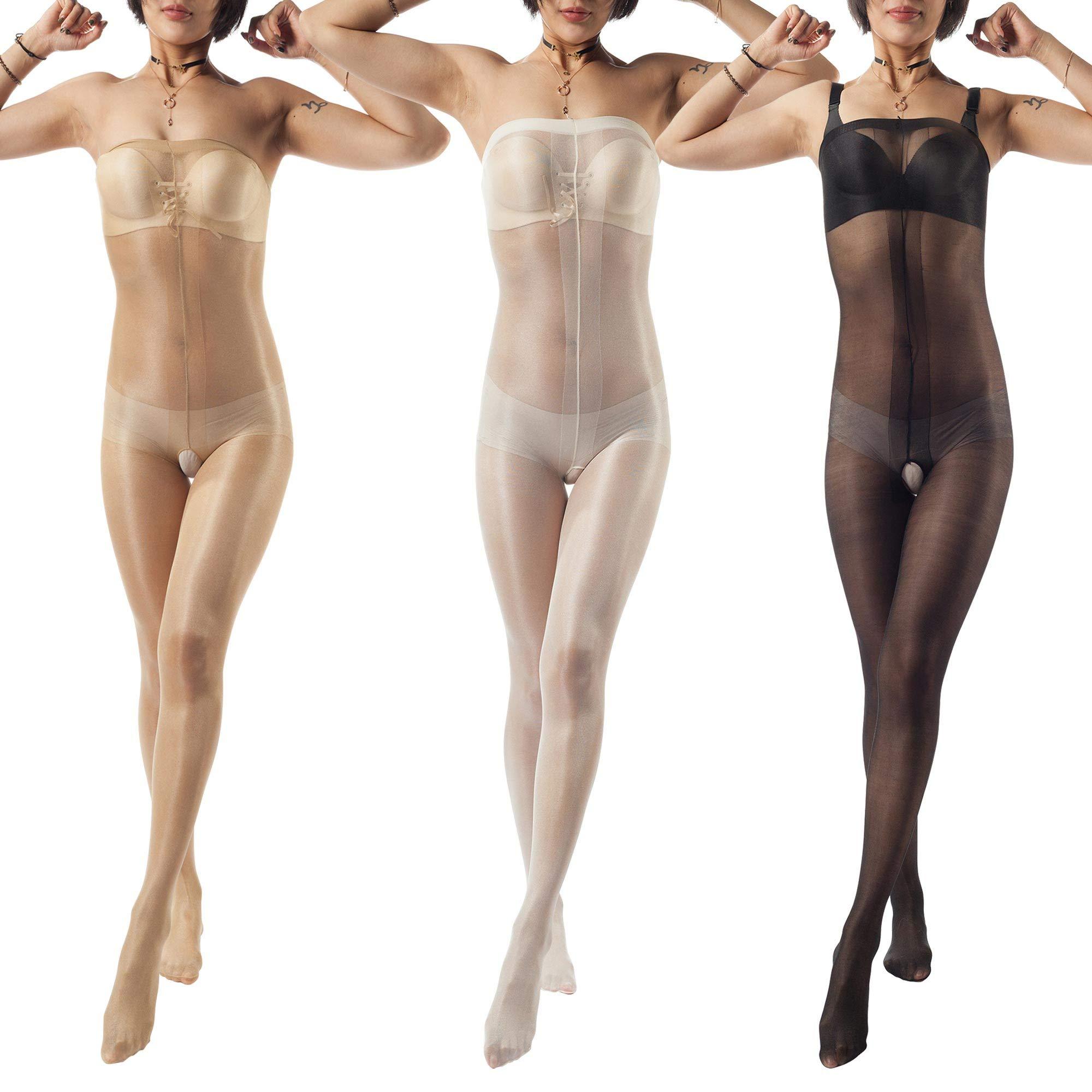 ElsaYX Women's Shiny Toe to Bust Body Stocking Pantyhose Nightwear 3 Pairs - Beige/White/Black One size:Height 4'9''-5'7''