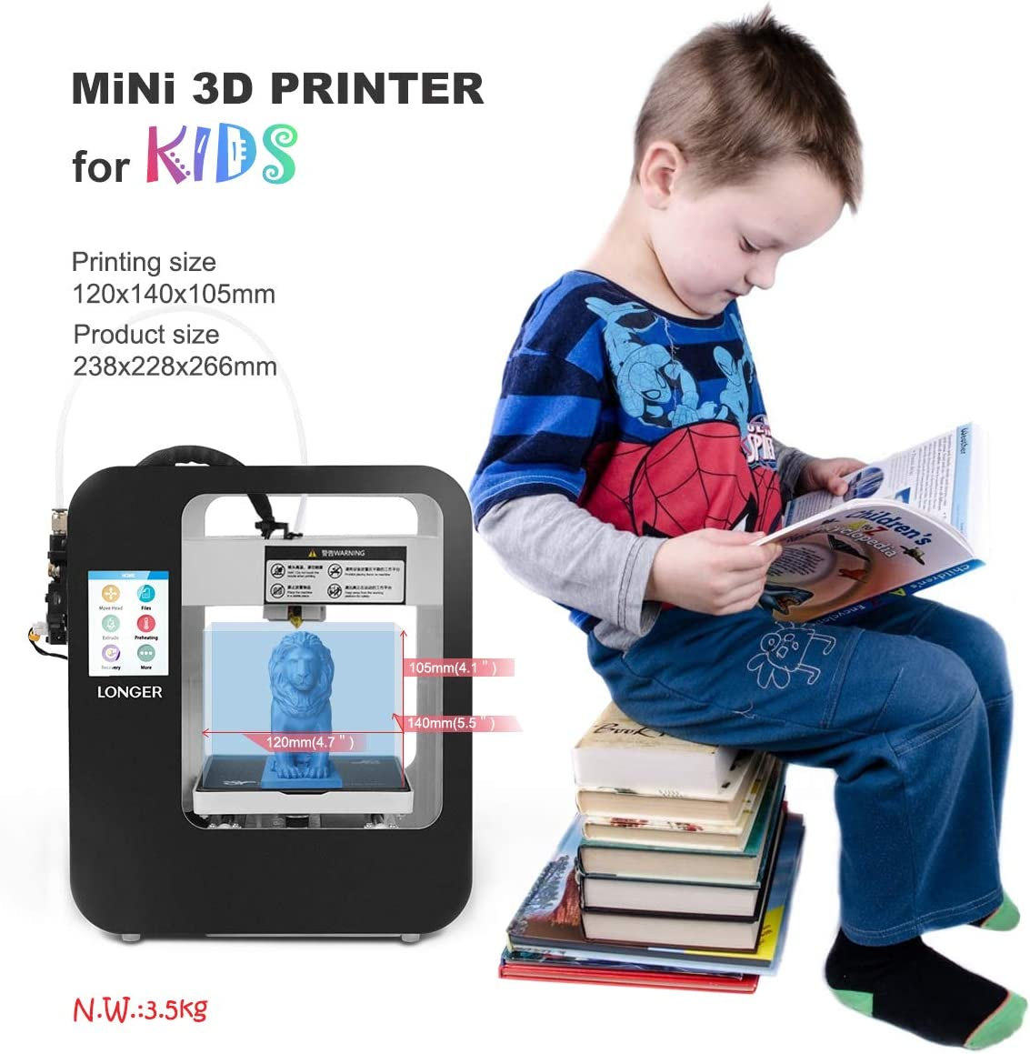 99/% Pre-Assembled Entry-Level Printer with Touch Screen Resume Printing Removable Magnetic Build Plate LONGER Cube 2 Mini 3D Printer for Kids