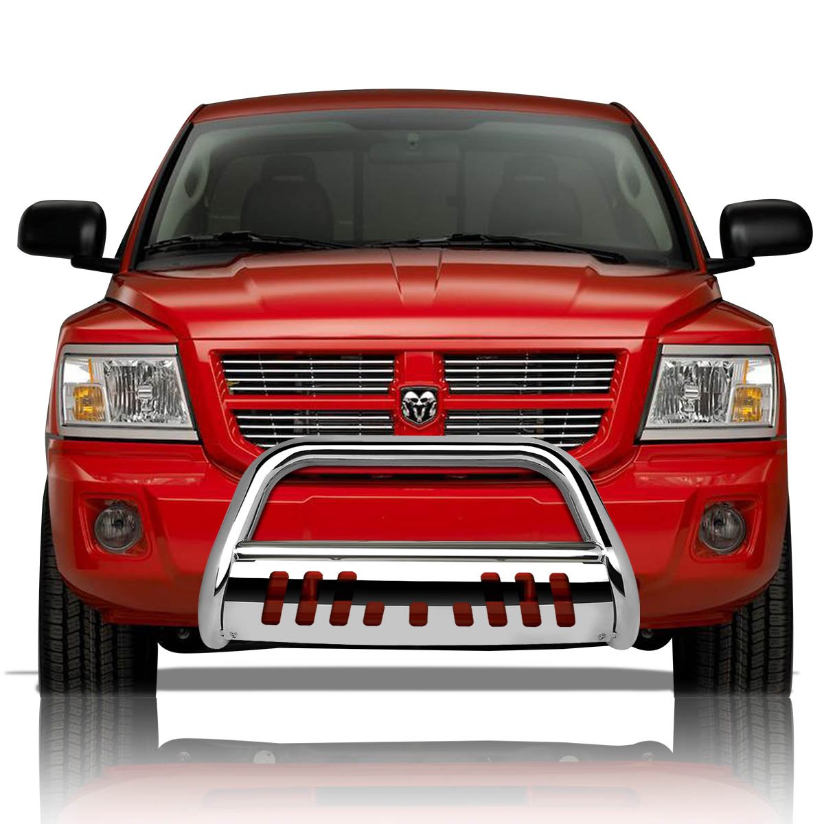 Black For Dodge Dakota 3 inches Bumper Push Bull Bar+Removable Skid Plate