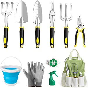 WEWILL Garden Tools Set Gardening Tool Kits Heavy Duty Aluminum Hand Tools Kits with Sprayer,Weeder,Garden Gloves & Garden Handbag and More, Gardening Gifts for Women & Men