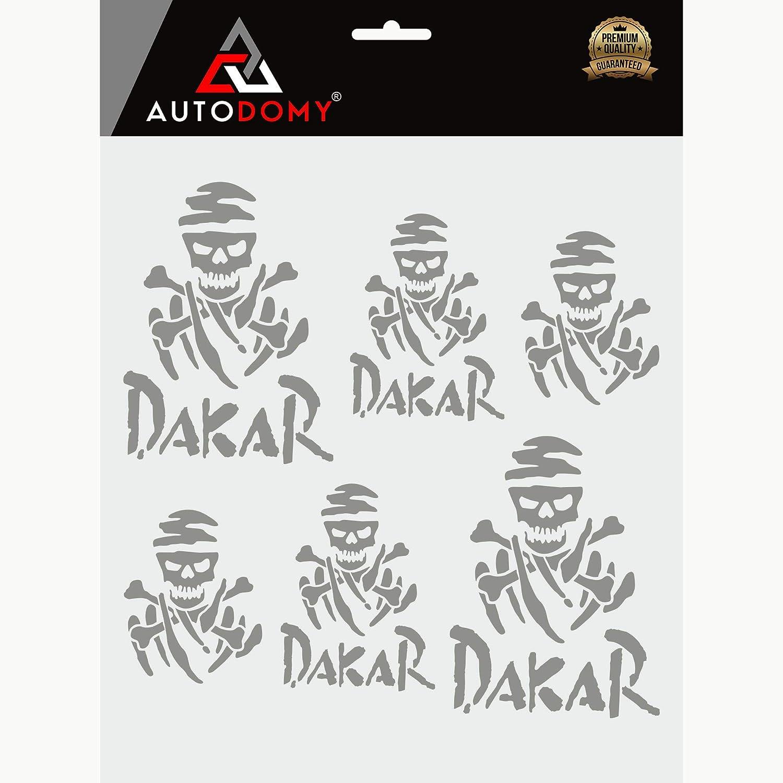Argento Autodomy Confezione Adesivi Dakar 15 Pezzi per Auto o Moto