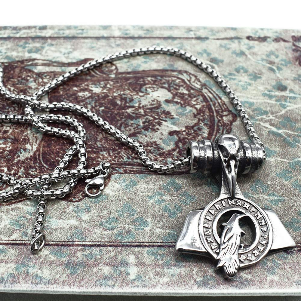 Nordic Pirate Series Amulet Men and Women Couples Celtic Religious Jewelry LH/&BD Viking Necklace,Vintage Crow Pigeon Pendant Beautiful Gifts