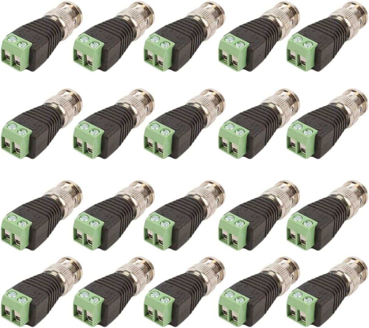 20 Pcs Lot Male Coax CAT5 To CCTV Coaxial Camera BNC Video Balun Connectors LOT
