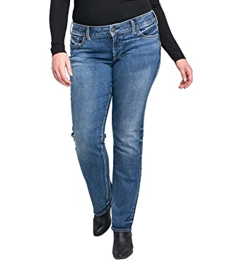 b661a6a3480 Silver Jeans Co. Women s Plus Size Suki Curvy Fit Mid Rise Straight Leg  Jeans