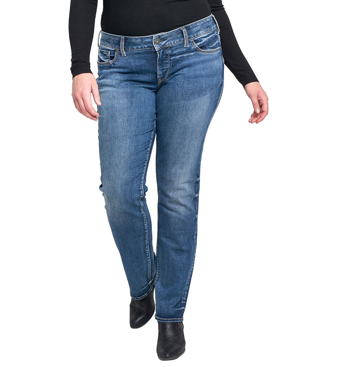 Silver Jeans Women's Plus Size Co Suki Curvy Fit Mid Rise Straight Leg, Medium Indigo Wash, 12x32