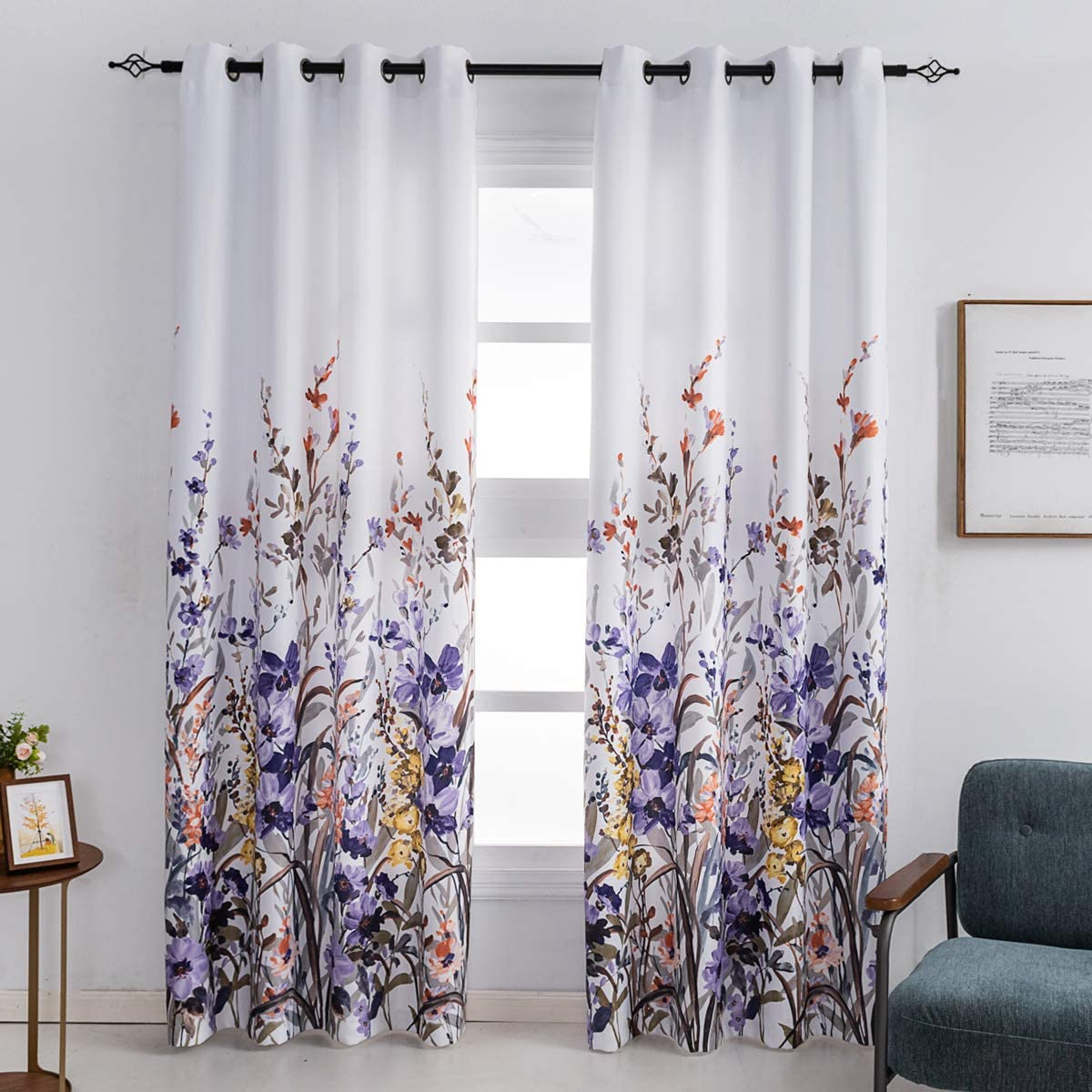 Kotile Floral Print Pattern Window Curtains 2 Panel Room Darkening Thermal Insulated Grommet Curtains For Living Room Purple 52 X 95 Inches 2 Panels Sets Kitchen Dining