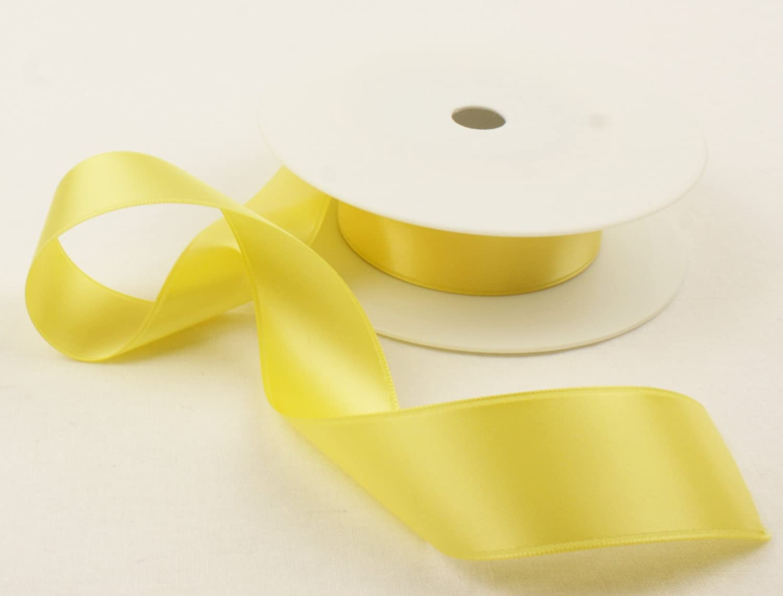 25mm Satin ribbon Yellow in 5mtrs