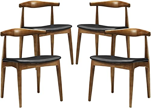Modway Tracy Mid-Century Modern Wood and Faux Leather Upholstered Four Dining Chair