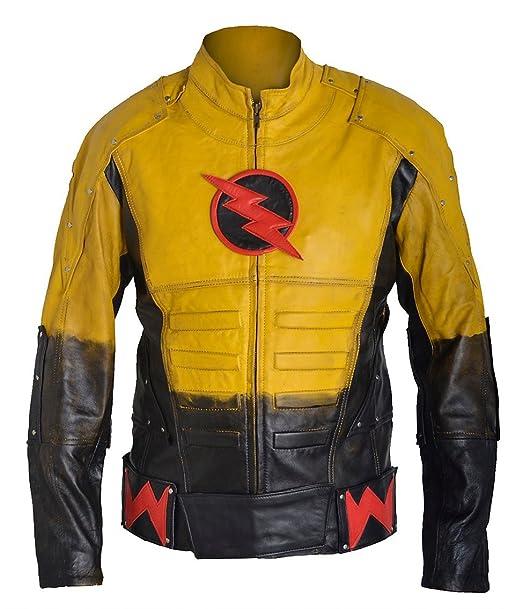Bestzo Hombre Vintage Chaqueta de Piel de Flash: Amazon.es: Ropa y accesorios