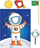 Solar System Rocket to Space Astronaut Room Decor - Astronaut Standup with Photo Props