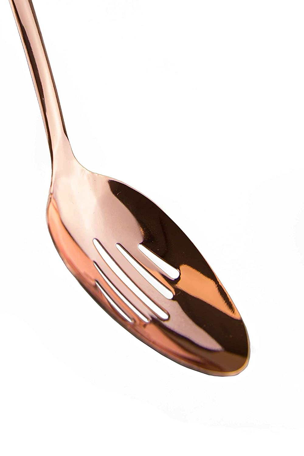 Cook With Color Set of 4 Rose Gold Stainless Steel Cooking Utensil Set with Black Silicone Handles