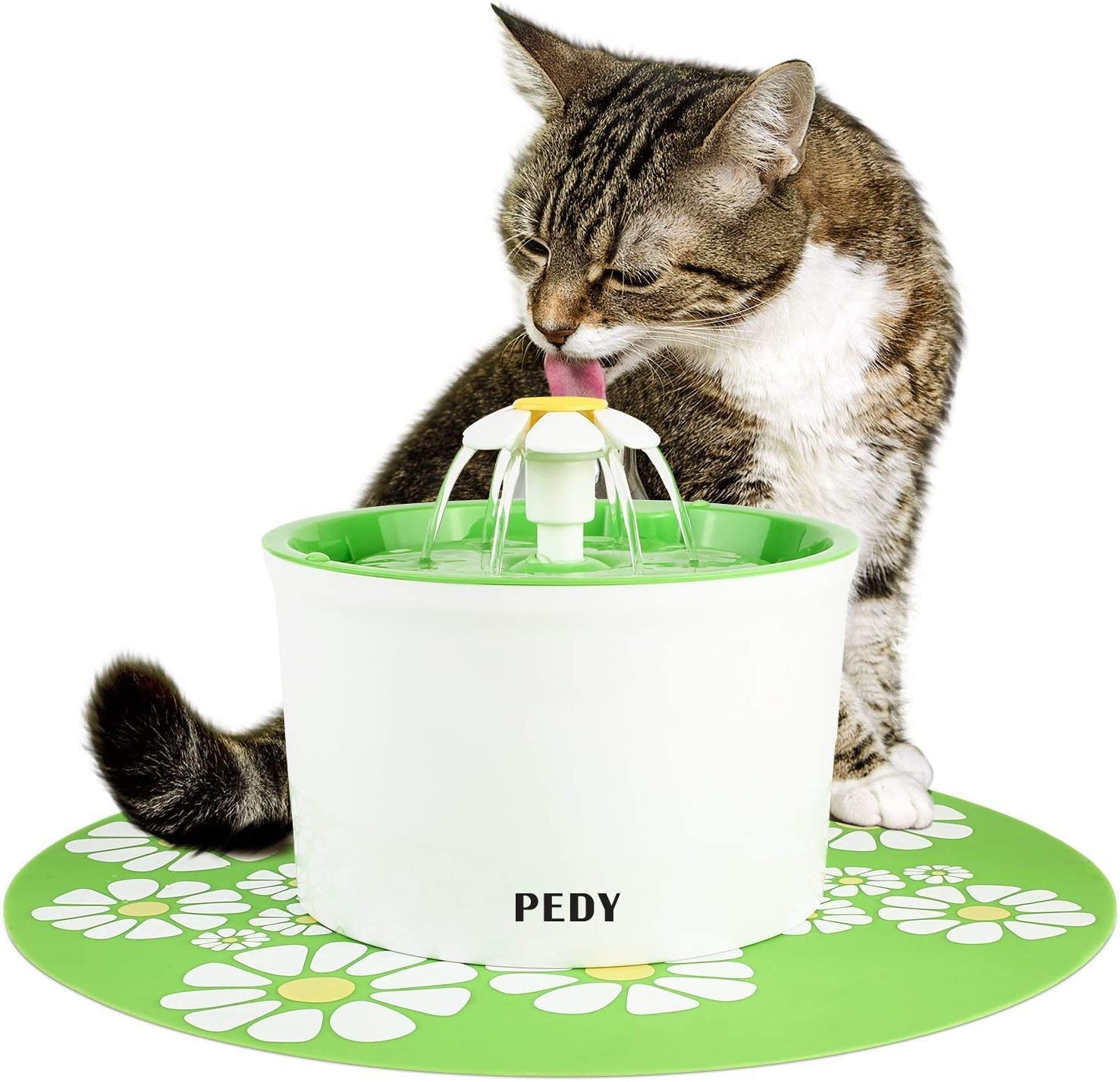 pedy Fuente de Agua Silenciosa para Mascotas con Dispensador Circular en Forma de Margarita y 3 Modos Ajustables Bebedero Automático Eléctrico para Gato con Filtro de Carbón