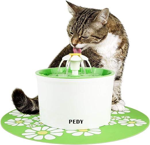 pedy Fuente de Agua Silenciosa para Mascotas con Dispensador Circular en Forma de Margarita y 3 Modos Ajustables Bebedero Automático Eléctrico para Gato con Filtro de Carbón: Amazon.es: Productos para mascotas