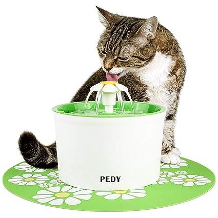 PEDY Fuente de Agua Silenciosa para Mascotas con Dispensador Circular en Forma de Margarita y 3 Modos Ajustables Bebedero Automático Eléctrico para ...