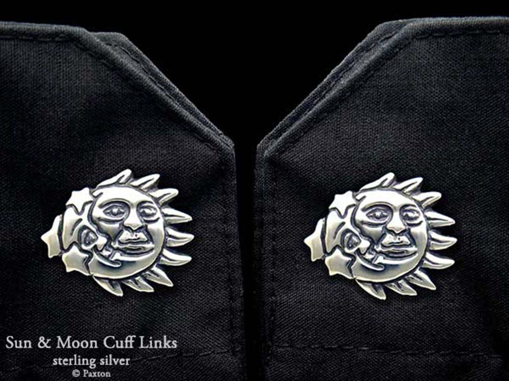 Sun Moon Cuff Links in Solid Sterling Silver Hand Carved & Cast by Paxton