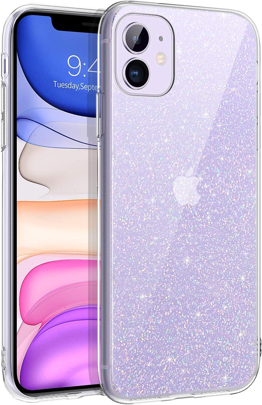 BENTOBEN Funda iPhone 11 Glitter, Carcasa iPhone 11 Ultra Delgada Case TPU Brillante Suave Silicone Transparente Claro Protectora Resistente Anti-Golpes Funda para iPhone 11 2019 6,1 '' Bling Claro