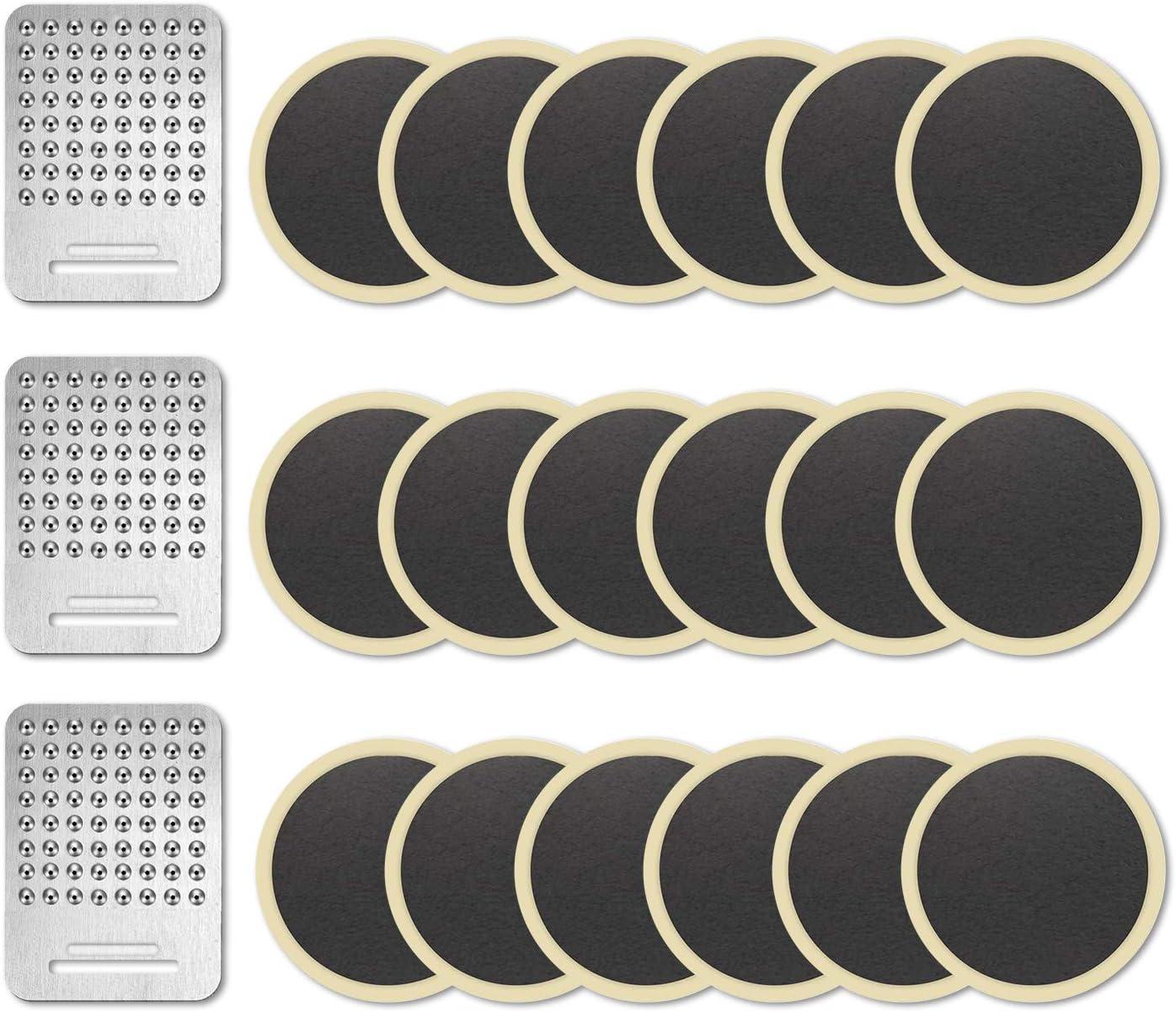 NIERBO Kit de Parche de Neumático para Bicicleta Autoadhesivo Reparación de Pinchazos MTB con Parches y Rallador