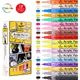 PAKEN Acrylic Paint Pens,18 Colors Paint Pens for Rock Painting| DIY Craft Art Waterproof Permanent Paint Marker Pen Set for