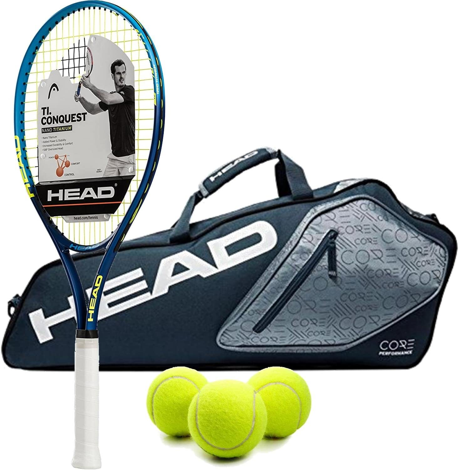 HEAD Ti.Conquest Pre-Strung Tennis Racquet Bundled with a Core Tennis Bag or Backpack and a Can of Tennis Balls