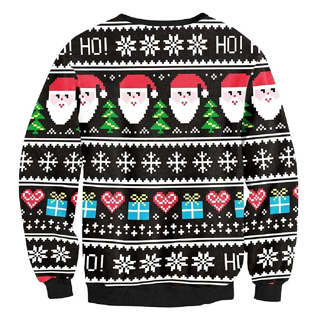 BSTBUWIN Womens Christmas Reindeer Digtal Print Blouse Sweatshirts