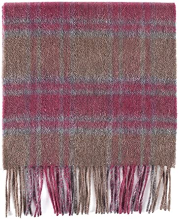 100/% Cashmere Scarf Brown Blue Beige Check Plaid Made in Scotland SOFT Warm NEW