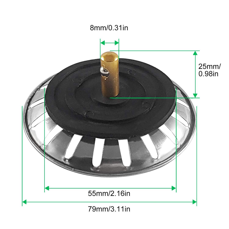 CZ Store/®-tap/ón fregadero|JUEGO DE DE 2|✮✮GARANT/ÍA DE POR VIDA✮✮-filtro fregadero de cocina|79 MM|universal fregadero de acero inoxidable desag/üe fregadero//lavabo filtro fregadero de cocina