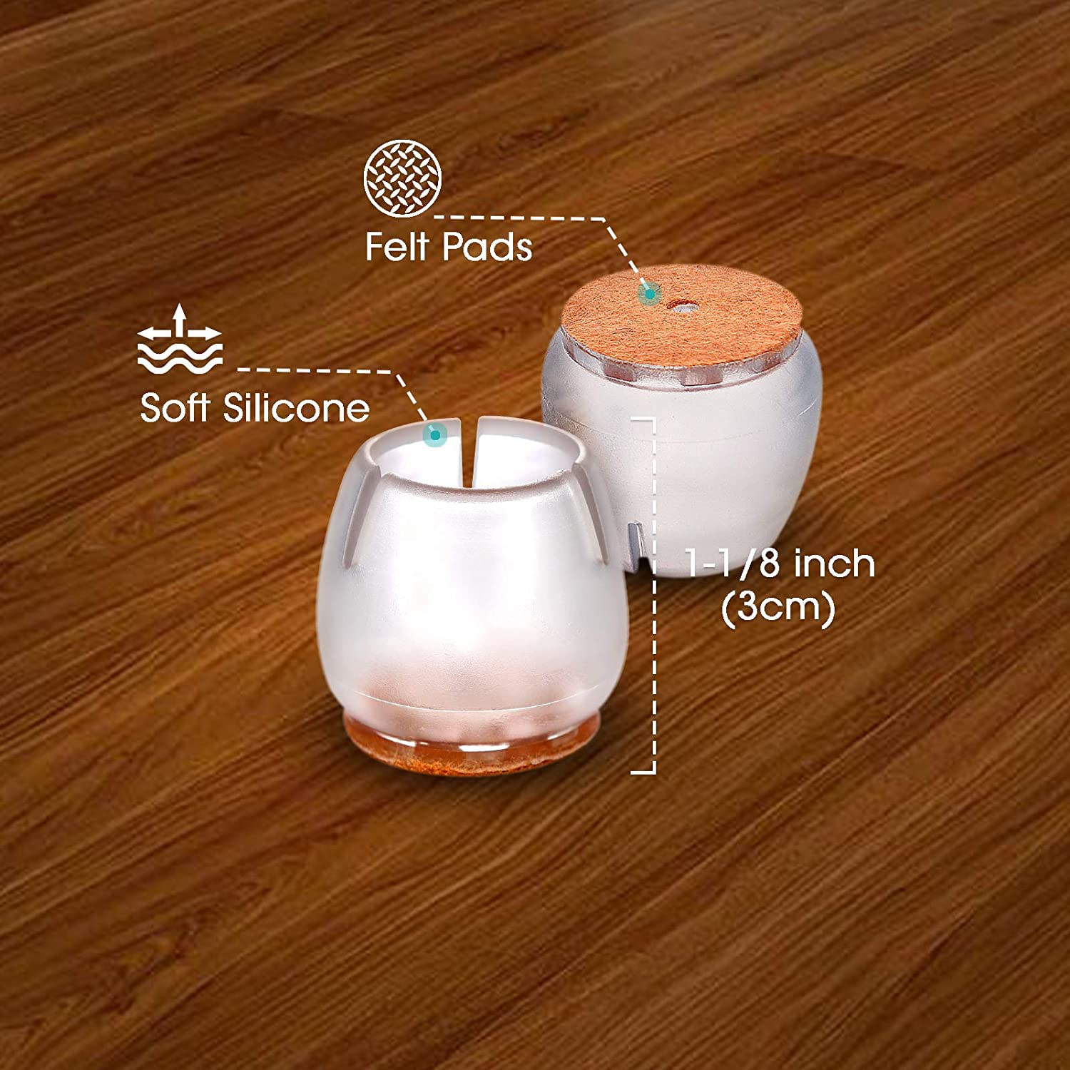 8 Pack MelonBoat Chair Leg Floor Protectors with Felt Furniture Pads A-RD027 Fit Round 1 inch to 1-3//16 inches 2.55-3.0cm Chair Glides Feet Caps