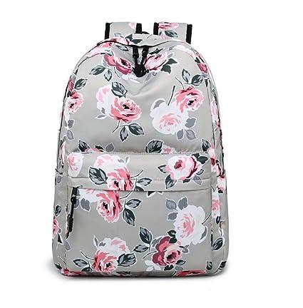 a14d3f2c54 Acmebon Sac à Dos d'école imperméable avec Impression Florale pour Les  Filles Kaki