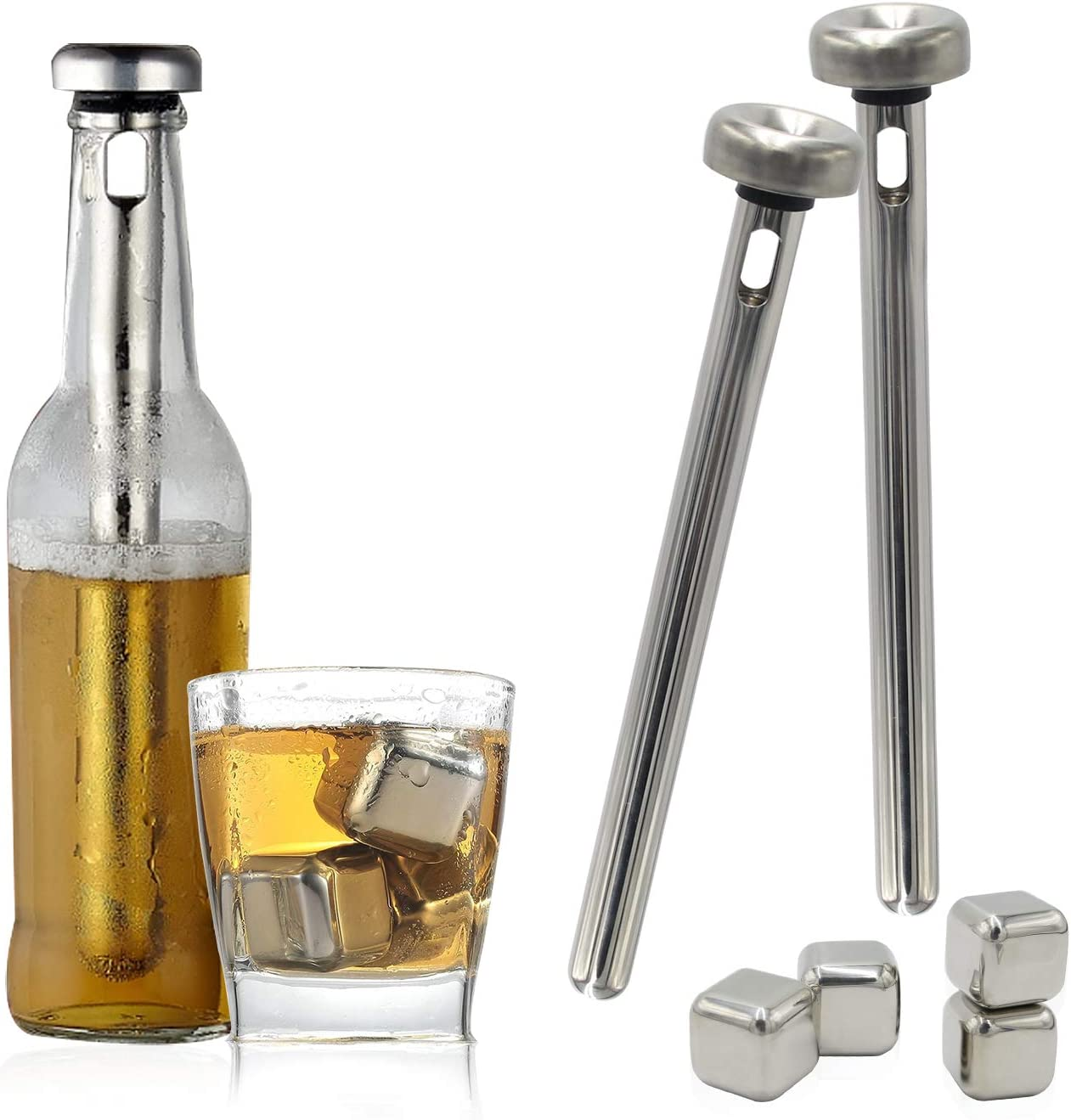 Beer Chiller Stick & Stainless Steel Ice Cube for Beer Wine Water Beverage Cooling, 2 Sticks and 4 Ice Cube