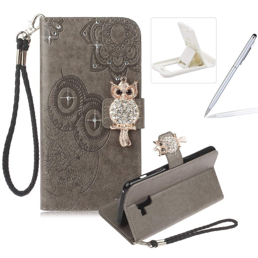 Strap Leather Case for Samsung Galaxy A8 2018,Diamond Brown Wallet Flip Case for Samsung Galaxy A8 2018,Herzzer Stylish 3D Owl Magnetic Closure Cute Owl Printed Stand Shockproof Card Slots Folio PU Leather Back Case with Soft Silicone