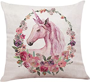 Waful Linen Throw Pillow Cover 18x18 inches, Square Pillow Case for Home Decoration, Unicorn Pattern Throw Pillow Cushion Covers Decorative Pillowcases for Sofa Chair Bedroom (Unicorn)