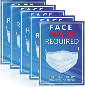 OTOLIN 6.7 x 9.5 - Face Mask Required Sign Decals Stickers - Please Wear Masks Attention Style Social Distance Poster for Grocery Stores, Dr. Offices, Hospitals - 5 Pack