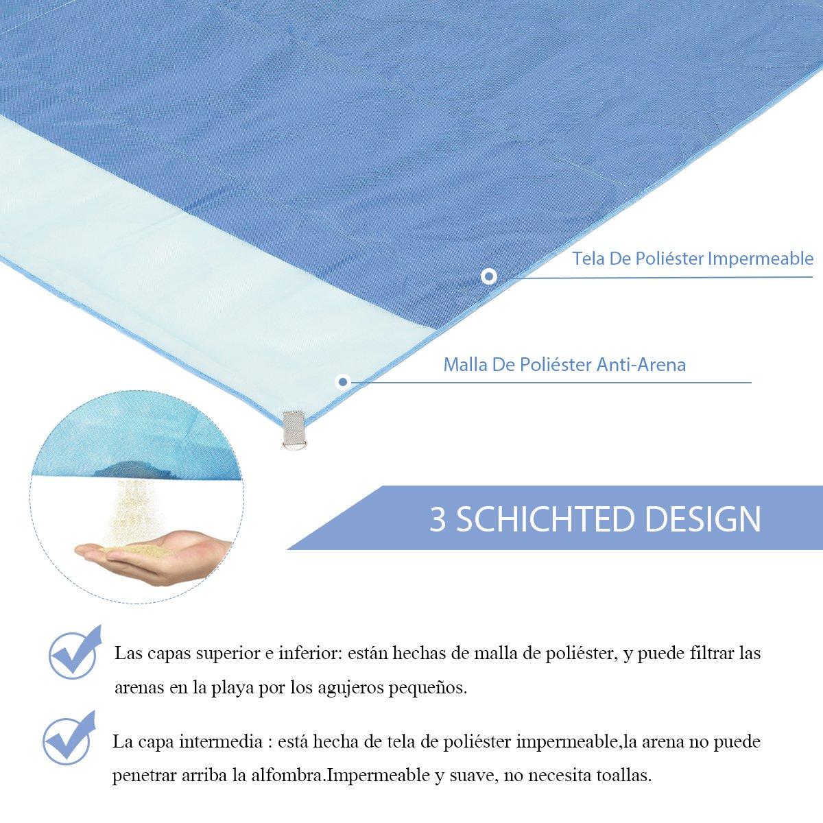 Alfombras de Playa Anti-Arena(200X200 CM) Minetom 3 capas Manta de Picnic Resistente al Agua para la Playa Ideal para la Playa Acampar Picnic: Amazon.es: ...