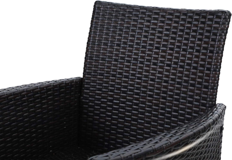 Silla de jard/ín para jard/ín y balc/ón Impermeable PHIVILLA Juego de 2 sillas de rat/án Fabricadas en Polyrattan y Estructura de Acero