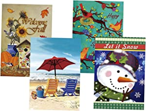 """Morigins Double Sided Seasonal Garden Flags Set of 4 for Outdoors Garden Decorations(12.5""""x18"""")"""
