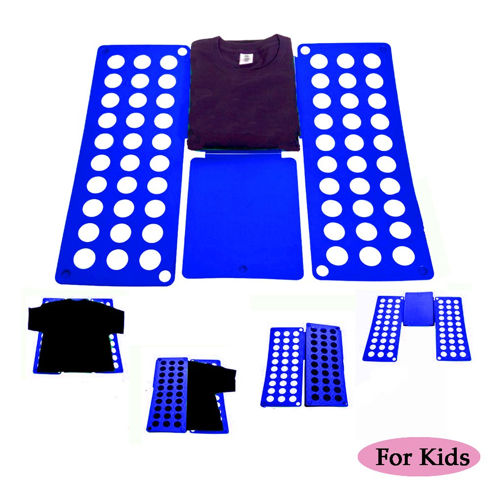 Clothes Tshirts Folder for Kid, Super Fast Laundry Folder Organizer, Top Flip Folding Board, Ideal for Home and Travel, Color Blue (For Kid) EVER OASIS