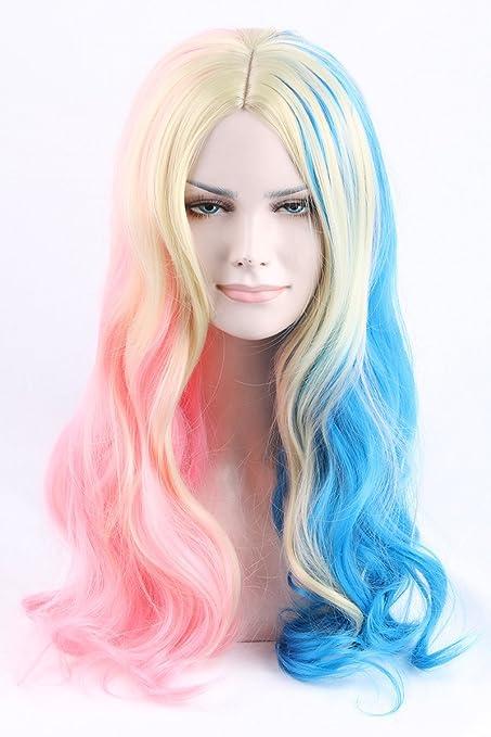 Cool2day Rubio rosa azul mezcla para Harley Quinn Cosplay peluca resistente al calor pelo + tapa