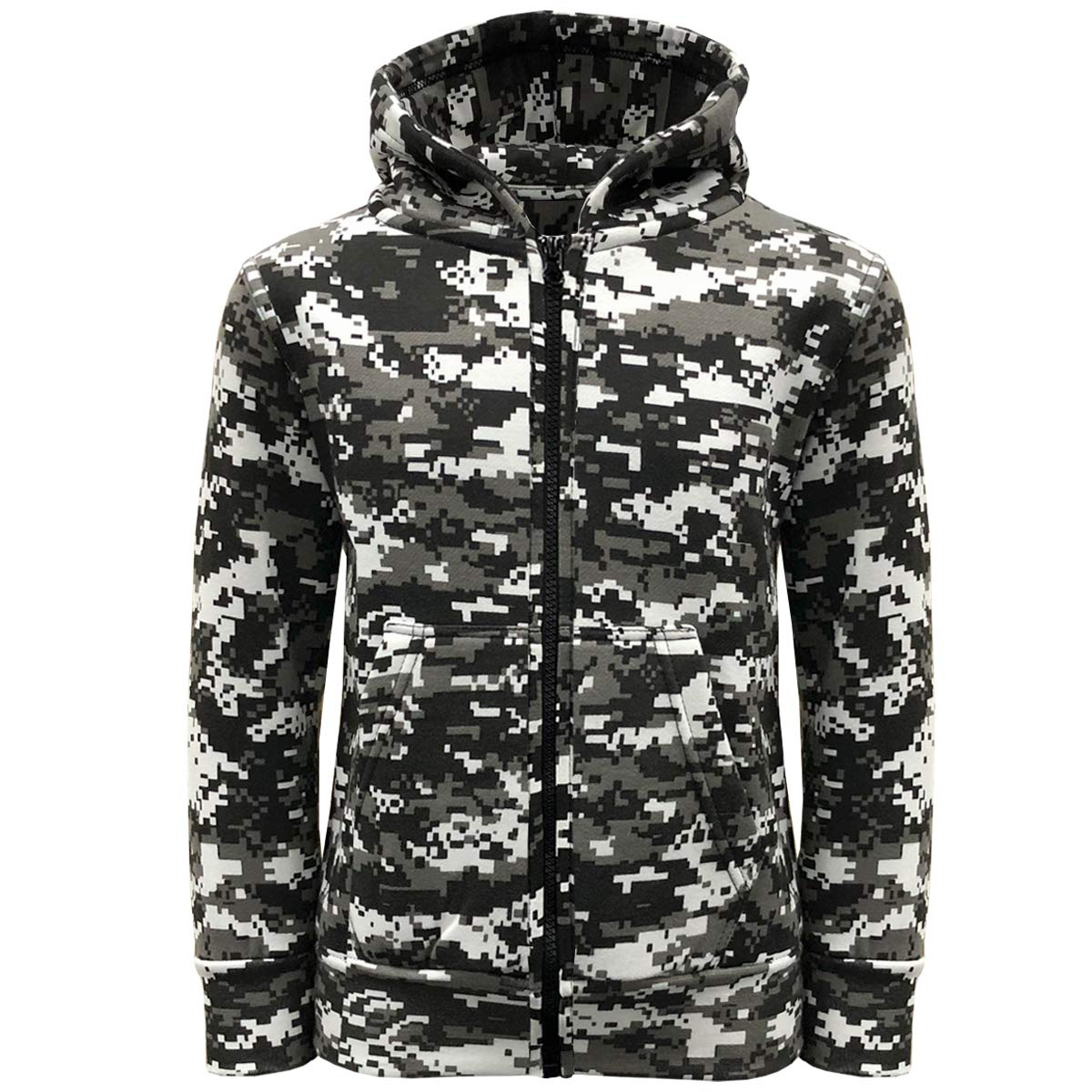 Game Technical Apparel Boys Camouflage Fleece Zip Hoodie Sweatshirt Top