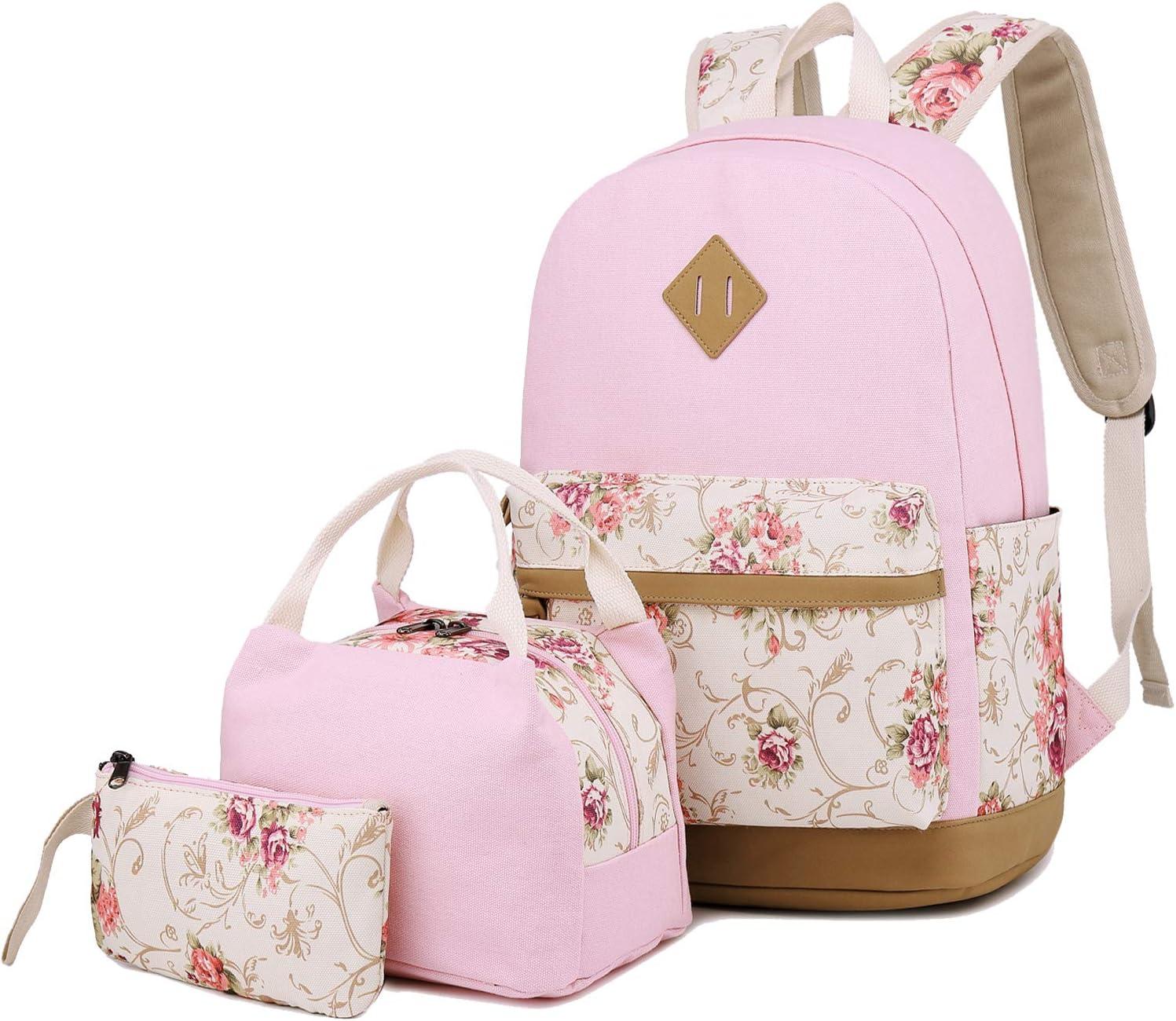 School Backpacks for Teen Girls Lightweight Canvas Backpack Bookbags Set (Pink)